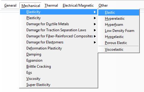 Selecting material behaviors